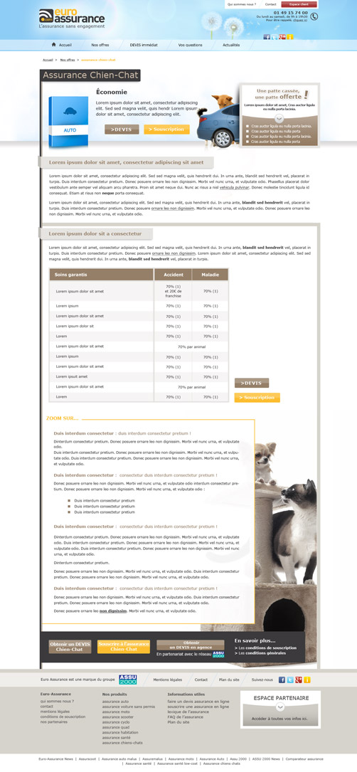 Page Assurance Chien-Chat Euro-Assurance