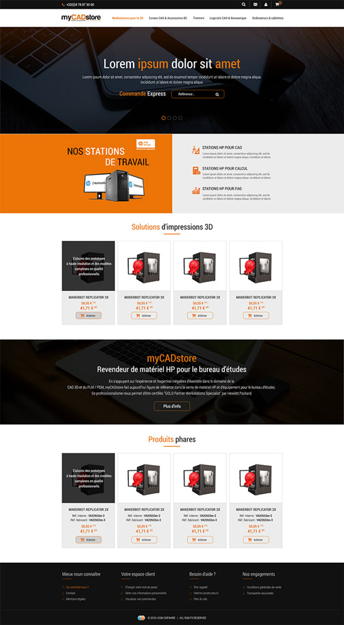 Page d'accueil myCADstore
