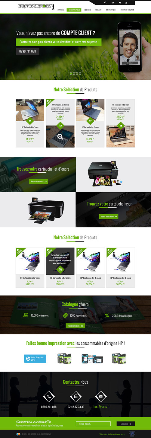 Page d'accueil SMSwebstore